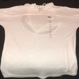 Victoria Secret White Hoodie with Cut Out Back